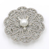 luxury crystal & simulated pearl flower brooch for women