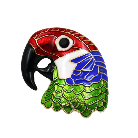 trendy enamel parrot head shape brooch pin for women