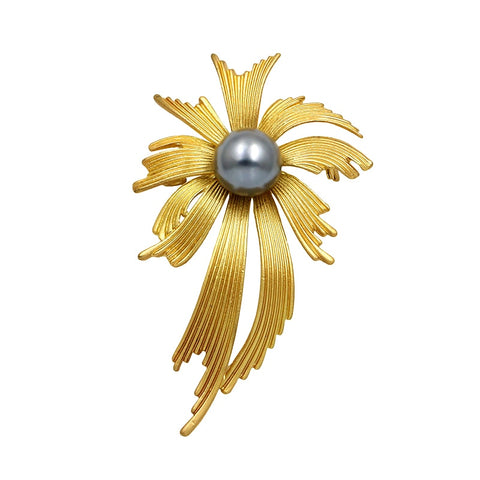 trendy matte gold color simulated pearl ribbon brooch jewelry