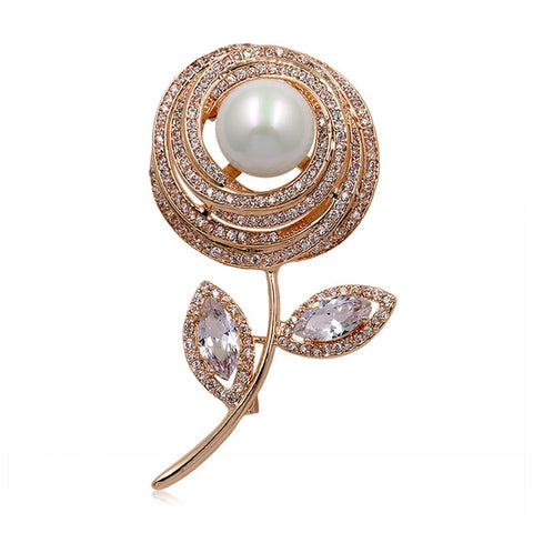 romantic full cubic zircon crystal flower brooch pin for women