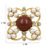 vintage resin stone & simulated pearl hollow brooch pin for women