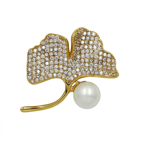 luxury cubic zircon crystal & pearl leaf brooch for women