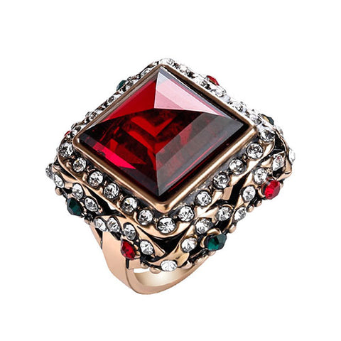vintage multicolor crystal square mosaic ring for women