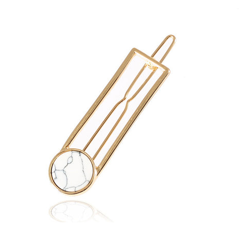 simple hollow shape metal hair pin for women