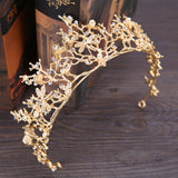 trendy golden hollow branch rhinestone tiara crown hair jewely
