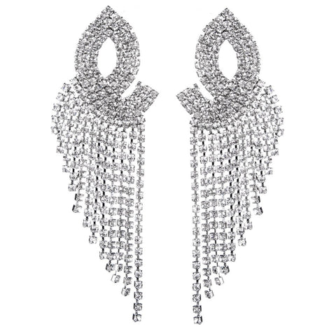luxury long crystal rhinestones tassel drop earrings for women