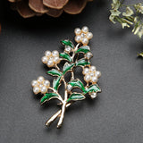 trendy glazed pearls flower brooch pin for women