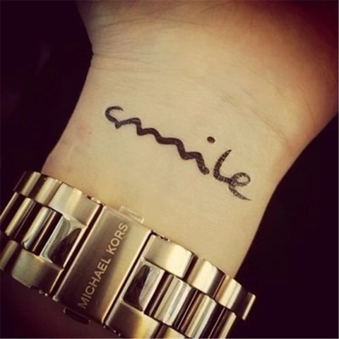 """smile"" word pattern temporary tattoo sticker"