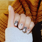 24 pcs trendy rivet decoration false nails for women