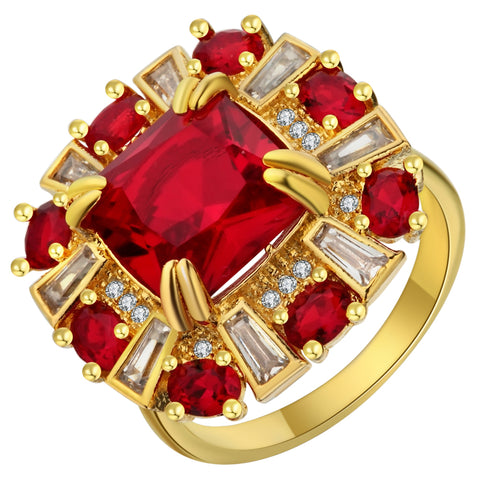 luxury red cubic zirconia big flower gold color ring for women