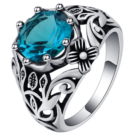 vintage big blue crystal hollow flower pattern ring for women