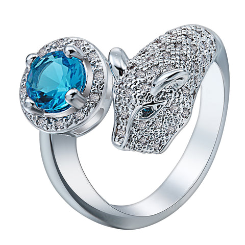 luxury cz blue crystal pave leopard head ring for women