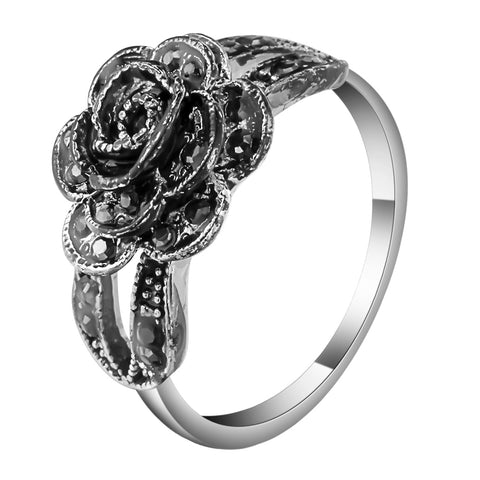black color cubic zirconia rose flower shape ring for women
