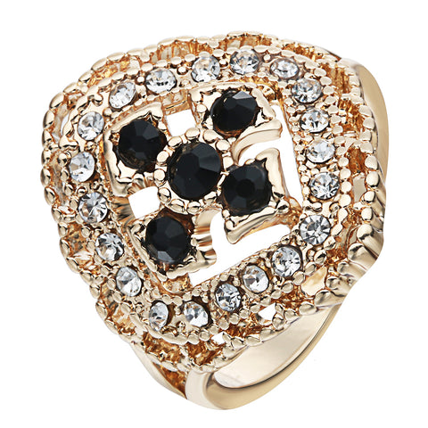 vintage crystal rhinestone flower & cross hollow ring for women