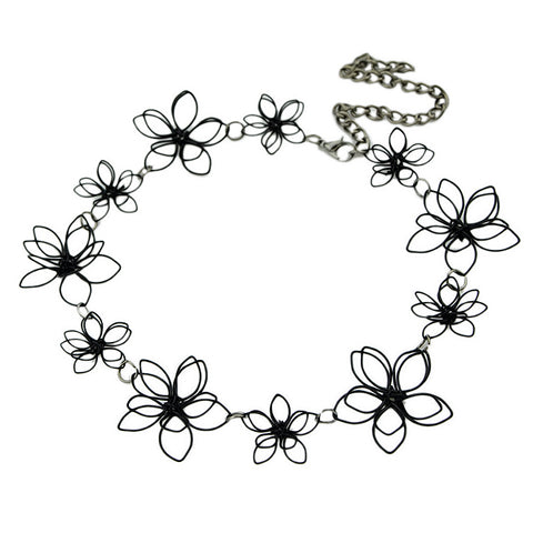 flower shape hollow out black choker necklace for women