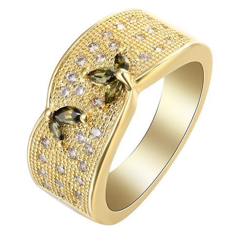 luxury full pave cz crystal with butterfly gold color ring for women