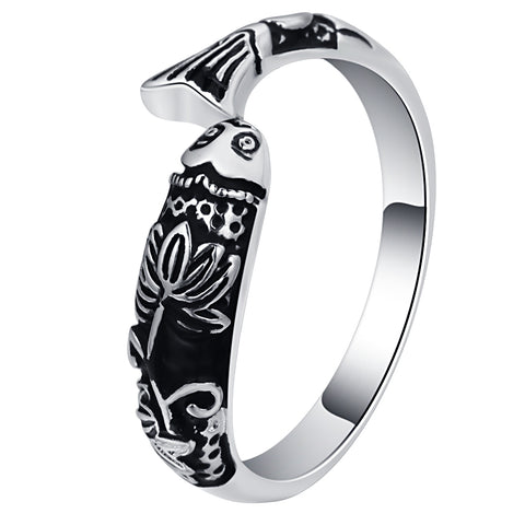 trendy ancient silver color fish shape ring for women