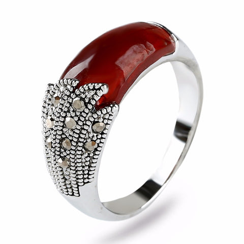 vintage style tibet silver color resin Stone ring for women