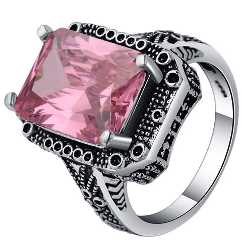 vintage big pink crystal stone ancient silver color ring for women
