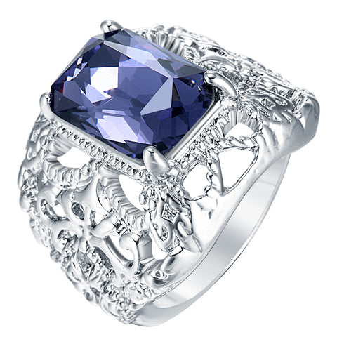 cool square purple zircon pave setting hollow ring