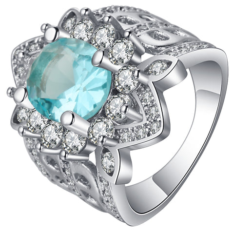 vintage style sky blue crystal flower shape ring for women