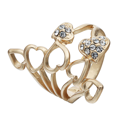 romantic rhinestone crystal hollow hearts ring for women