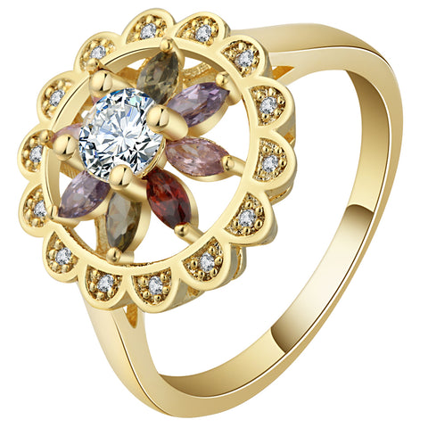trendy multi color zircon flower shape ring for women