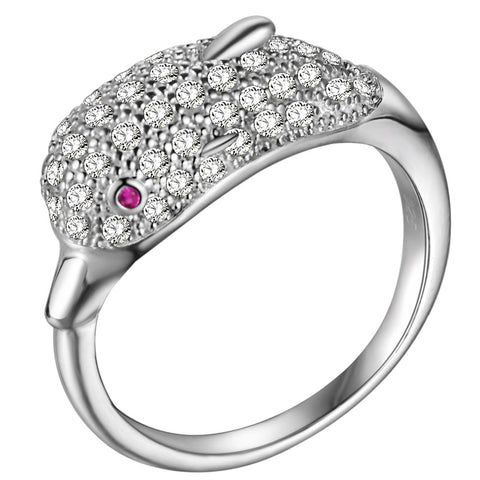 cute silver color cz crystal dolphin design ring for women