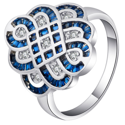 luxury blue & white zircon crystal flower shape ring for women