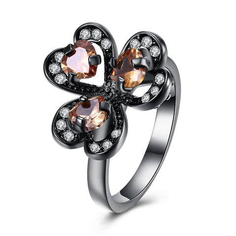 champagne color cz crystal heart flower ring for women