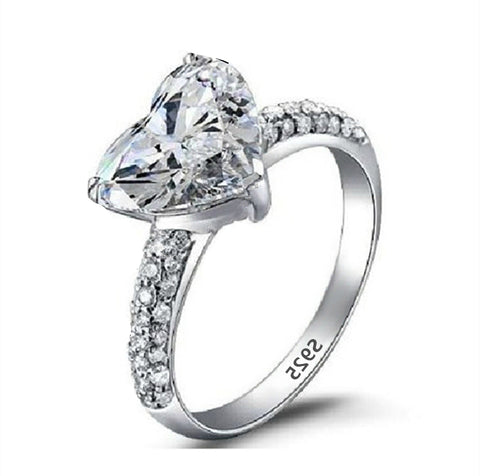 luxury silver color big zircon crystal heart with cz ring for women