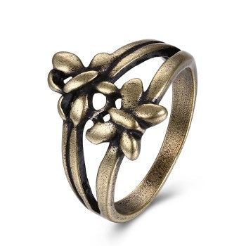 dark gold color hollow flower shape ring for women