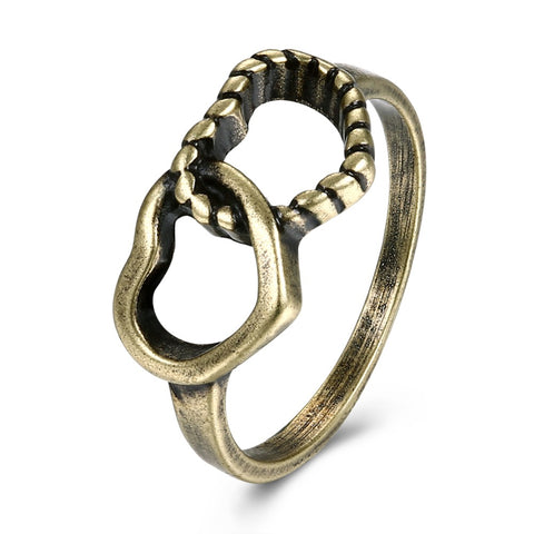 vintage bronze color heart to heart ring for women
