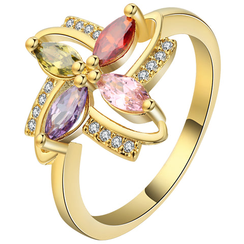 romantic gold color colorful crystal flower ring for women
