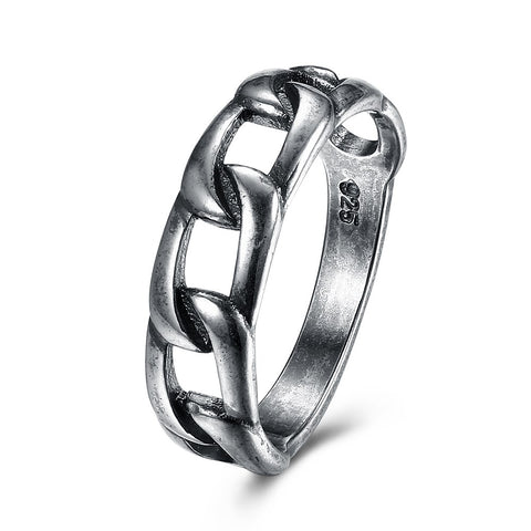 cool design ancient silver color hollow linked chain ring