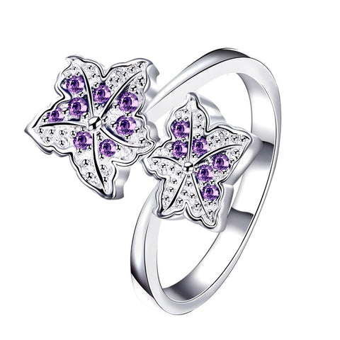 romantic silver color blue crystal flower ring for women