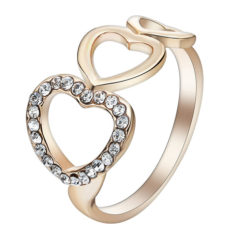 trendy gold color hollow rhinestone hearts ring for women