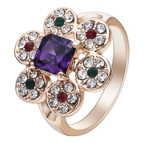 romantic colorful rhinestone crystal flower shape ring for women