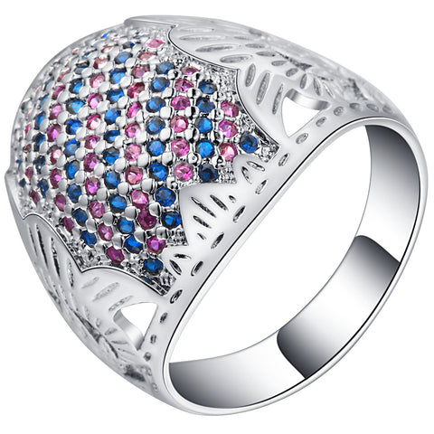 vintage style silver color micro pave cz crystal ring for women