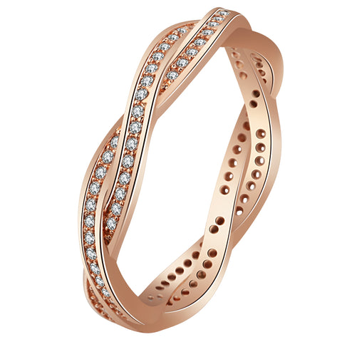 trendy rose gold color twist combination ring for women