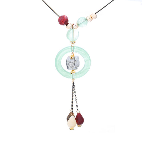 trendy necklace with stones tassel pendant for women