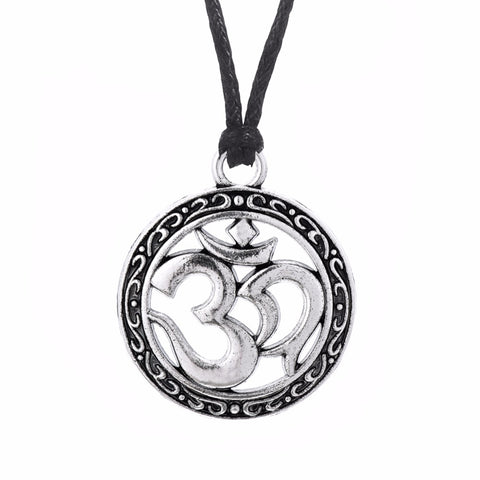 trendy silver color yoga symbol charm pendant necklace