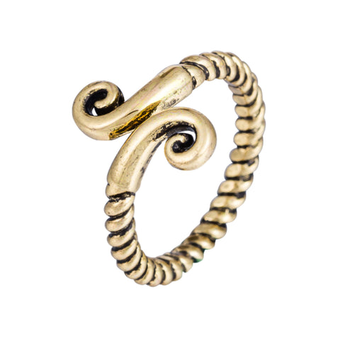 cool antique gold color roll shape ring for women