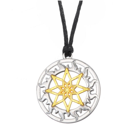 hollow slavic sun two tones plated pendant necklace