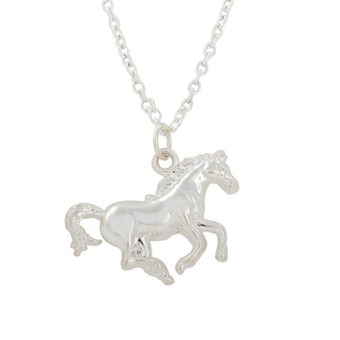 trendy silver color running horse pendant & necklace