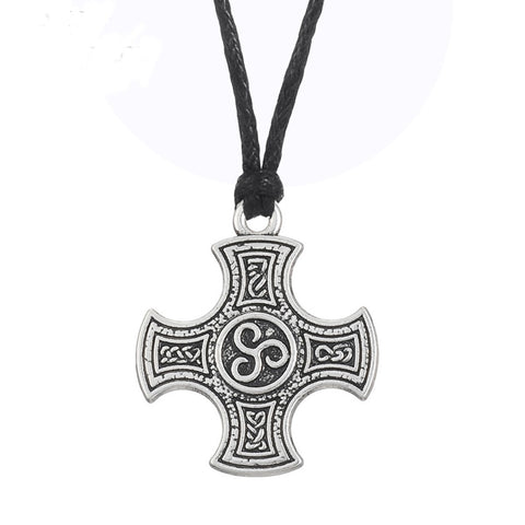 cool cross with irish knot spirals symbol pendant necklace for men