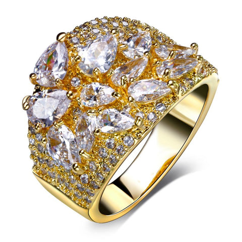 luxury full paved cubic zircon crystal ring for women