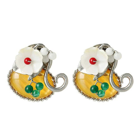 cute opal stone flower pattern stud earrings for women