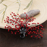 trendy natural stone & red beads tree brooch pin for women