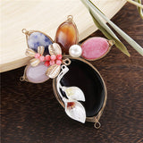 trendy enamel flower beaded simulated pearl brooch jewelry